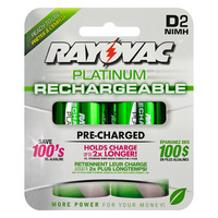 Rayovac Platinum - D Size - Rechargeable NiMH Battery - 2 Pack - PL713-2