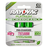 Rayovac Platinum - C Size - Rechargeable NiMH Battery - 2 Pack - PL714-2GENB