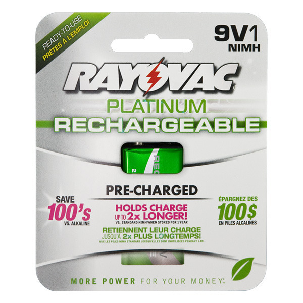 Rayovac Platinum - 9V Size - Rechargeable NiMH Battery - PL1604-1 Image