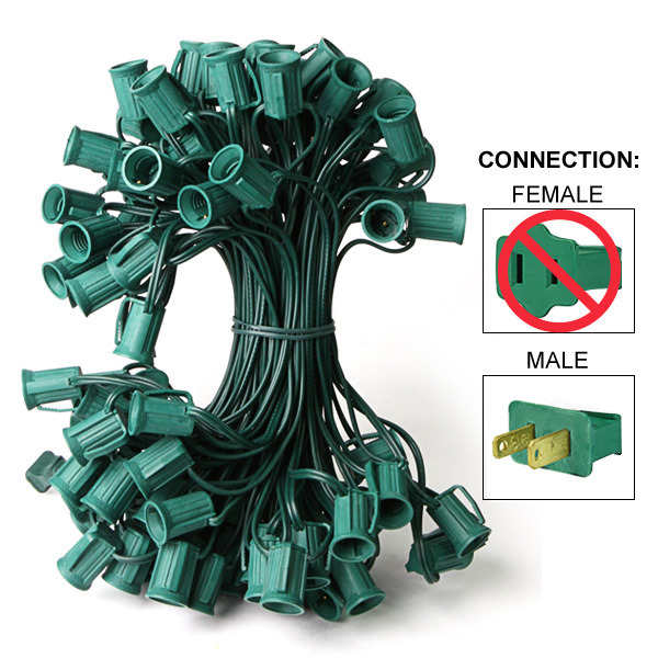 C9 Christmas Light Stringer | Green Wire | 50 ft.