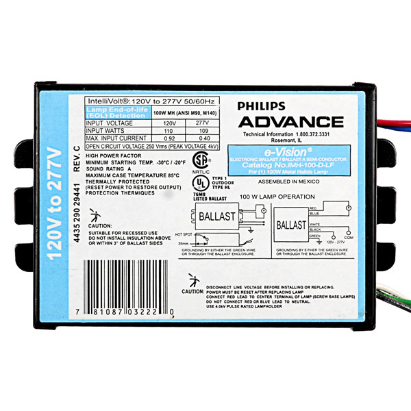 Advance IMH100DLFM - 100 Watt - Electronic Metal Halide Ballast Image