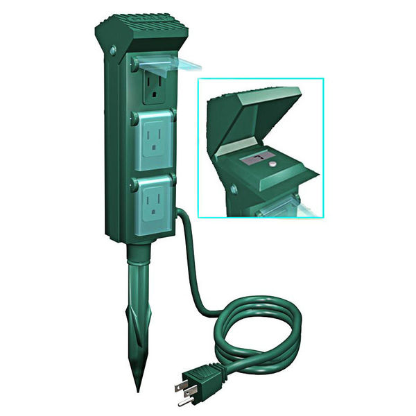 Yard Power Stake - 6 Grounded Outlets - 10FT6PWRCNTR:Outdoor Christmas Light Yard Power Stake Image,Lighting