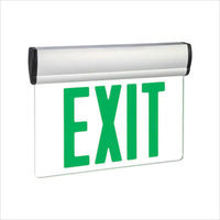 LED Exit Sign - Universal Edge-Lit - Green Letters - 120/277 Volt and Battery Backup - Exitronix S902-WB-SR-GC-WH