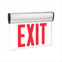 LED Exit Sign - Universal Edge-Lit - Red Letters - 120/277 Volt and Battery Backup - Exitronix S902-WB-SR-RC-WH