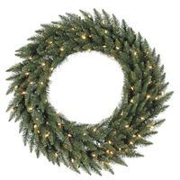 8 ft. Christmas Wreath - Classic PVC Needles - Camdon Fir - Prelit with Clear Mini Lights  - Vickerman A861096