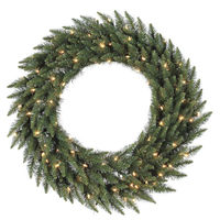 3.5 ft. Christmas Wreath - Classic PVC Needles - Camdon Fir - Pre-Lit with Frosted Warm White LED Bulbs - Vickerman A861043LED