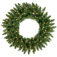 2.5 ft. Christmas Wreath - Classic PVC Needles - Camdon Fir - Prelit with Clear Warm White LED Bulbs  - Vickerman A861031LED
