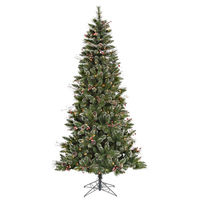 7 ft. x 42 in. - Snow Tip Pine/Berry - 744 Classic Tips - 350 Clear Incandescent Mini Lights - Vickerman Artificial Christmas Tree