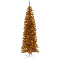 5.5 ft. x 22 in. - Antique Gold Pencil - 449 Classic Tips - 250 Clear  Incandescent Mini Lights - Vickerman Artificial Christmas Tree