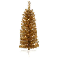 2 ft. x 11 in. - Antique Gold Pencil - 87 Classic Tips - 35 Clear Incandescent Mini Lights - Vickerman Artificial Christmas Tree