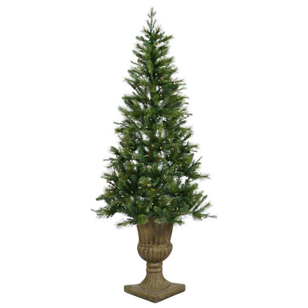 78 in. Potted Oneco Half Artificial Christmas Tree Image