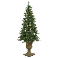 6.5 ft. x 46 in. - Elida Pine - 386 Classic Tips - 200 Clear Incandescent Mini Lights - Vickerman Potted Oneco Half Artificial Christmas Tree