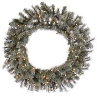 4 ft. Christmas Wreath - High Definition Pine Needles and Cones - Frosted Sartell - Prelit with Clear Mini Lights - Vickerman A111548