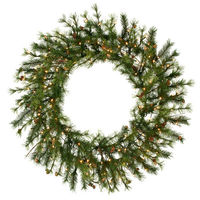 4 ft. Christmas Wreath - Classic Needles - Mixed Country Pine - Prelit with Clear Mini Lights  - Vickerman A801849