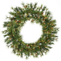 3 ft. Christmas Wreath - Classic PVC Needles - Mixed Country Pine - Prelit with Clear Mini Lights - Vickerman A801837