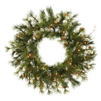 2 ft. Christmas Wreath - Classic PVC Needles - Mixed Country Pine - Prelit with Clear Mini Lights  - Vickerman A801825