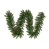 9 ft. Christmas Garland - Classic PVC Needles - Camdon Fir - Prelit with Multi-Color LED Bulbs  - Vickerman A861119LED