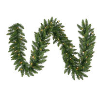 9 ft. Christmas Garland - Classic PVC Needles - Camdon Fir - Pre-Lit with Frosted Warm White LED Bulbs - Vickerman A861111LED
