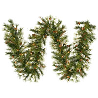 9 ft. Christmas Garland - Classic Needles - Mixed Country Pine - Prelit with Clear Mini Lights  - Vickerman A801713