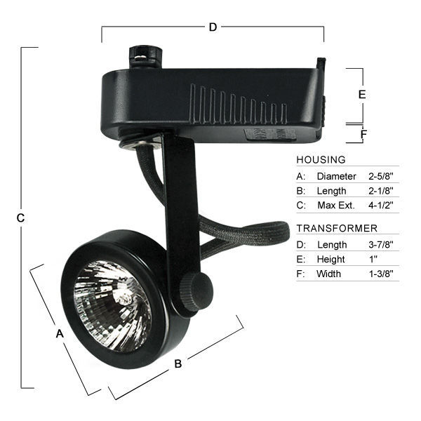 Nora NTL-207B - Gimbal Ring Low Voltage Track Fixture - Black Image