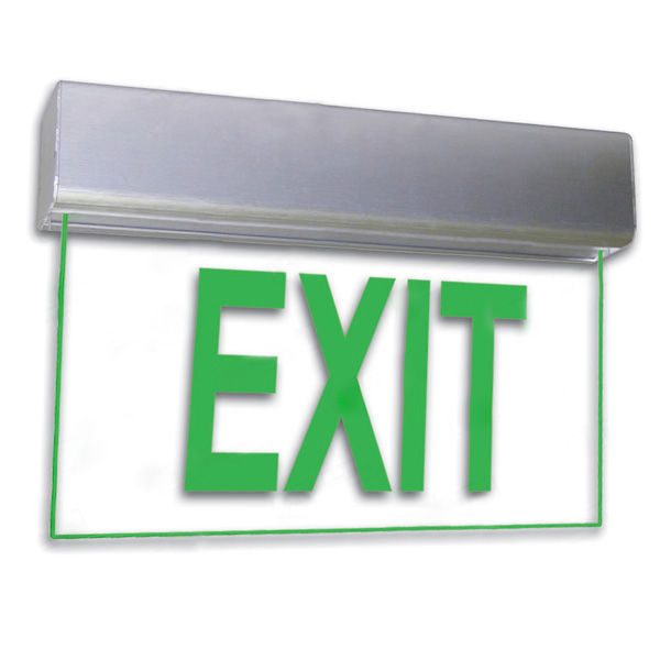 LED Exit Sign - Deluxe Edge-Lit - Green Letters Image