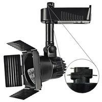 Black - Barndoor Low Voltage Track Fixture - Compatible with Halo Track - Integral 12V Electronic Transformer - Nora NTL-208B