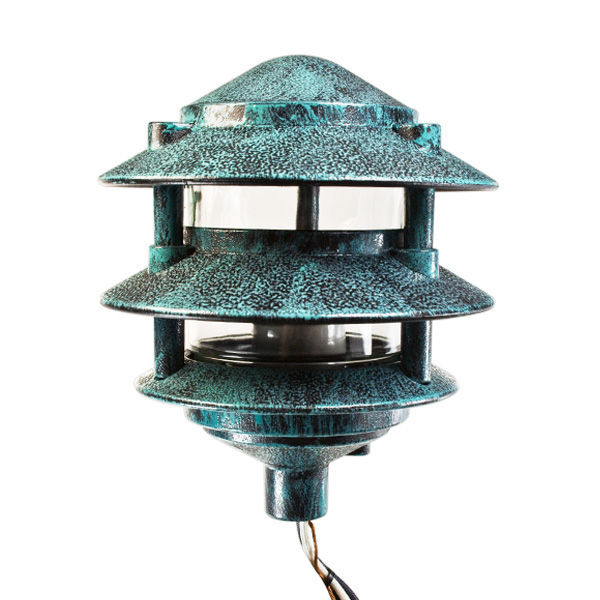 Pagoda pathway light verde finish 120v plt pgl6bvrd for 120v landscape lighting