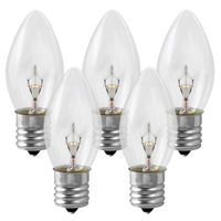 25 Pack - C9 - Clear - 7 Watt -Christmas Light Replacement Bulbs - Intermediate Base - 120 Volt