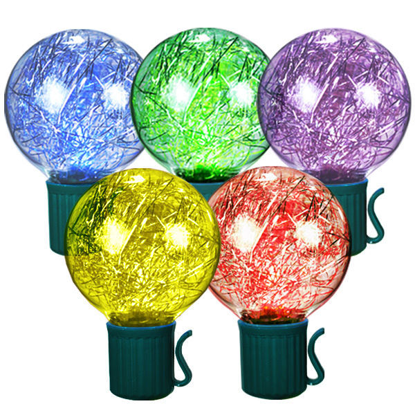 25 bulbs multi color led g13 lights green wire 25 ft stringer 25 led tinsel filled globes multi color