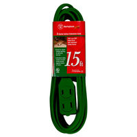 15 ft. Indoor Extension Cord -  3 Un-Grounded Outlet - 13 Amp - 1,625 Max. Wattage - Green