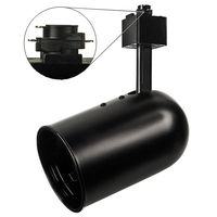 Black - Round Back Cylinder Track Fixture - Black Baffle - Operates 50W R/PAR20 - Halo Track Compatible - 120 Volt - Nora NTH-105B