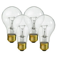 25 Watt - A19 Incandescent Light Bulb - 4 Pack - Clear - Medium Brass Base - 130 Volt - Halco 6318