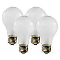 25 Watt - A19 Incandescent Light Bulb - 4 Pack - Frosted - Medium Brass Base - 130 Volt - Halco 6319