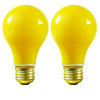 100 Watt - A19 - Yellow - 2,000 Life Hours - 130 Volt - Bug Light - 2 Pack