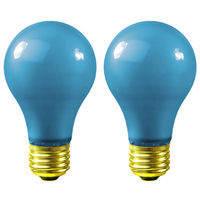 60 Watt - A19 Incandescent Light Bulb - 2 Pack - Opaque Blue - Medium Brass Base - 120 Volt - Sunlite 01145