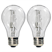 43 Watt - A19 - Clear - Halogen - 1,000 Life Hours - 750 Lumens - 120 Volt - 2 Pack