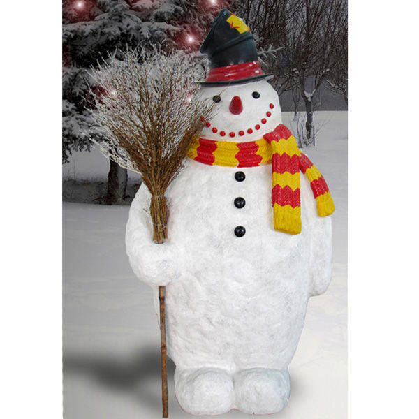 6 ft. - Snowman with Broom and Top Hat - Life Size Image