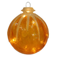 Illuminated - Christmas Hanging Icy Ball - 12 in. - Gold - Fiberglass - 10 Bulbs