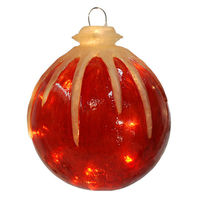 Illuminated - Christmas Hanging Icy Ball - 12 in. - Red - Fiberglass - 10 Bulbs