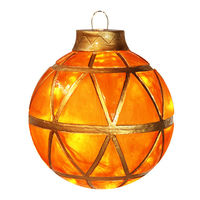 Illuminated - Christmas Hanging Mosaic Ball - 11.5 in. - Gold - Fiberglass - 10 Bulbs