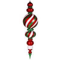 5 ft. Christmas Candy Finial - Red, White, Green