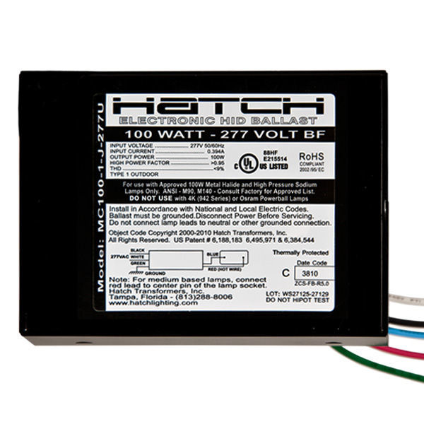 Hatch MC100-1-J-277U - 100 Watt - Electronic Metal Halide Ballast Image