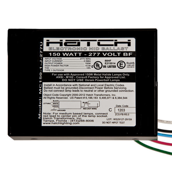 Hatch MC150-1-J-277U - 150 Watt - Electronic Metal Halide Ballast Image