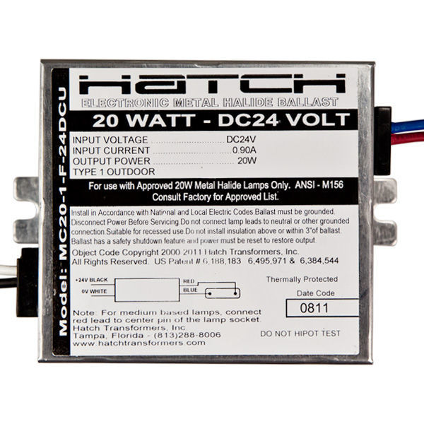 Hatch MC20-1-F-24DCU - 20 Watt - Electronic Metal Halide Ballast Image