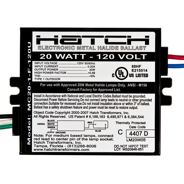 Hatch MC20-1-F-120U - 20 Watt - Electronic Metal Halide Ballast Image