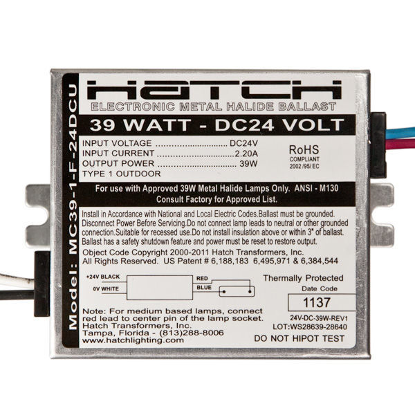 Hatch MC39-1-F-24DCU - 39 Watt - Electronic Metal Halide Ballast Image