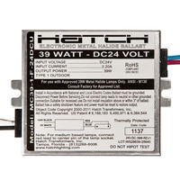 Hatch MC39-1-F-24DCU - 39 Watt - Electronic Metal Halide Ballast - Side Leads with Mounting Feet