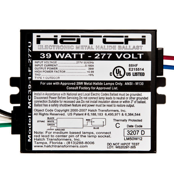 Hatch MC39-1-F-277U - 39 Watt - Electronic Metal Halide Ballast Image