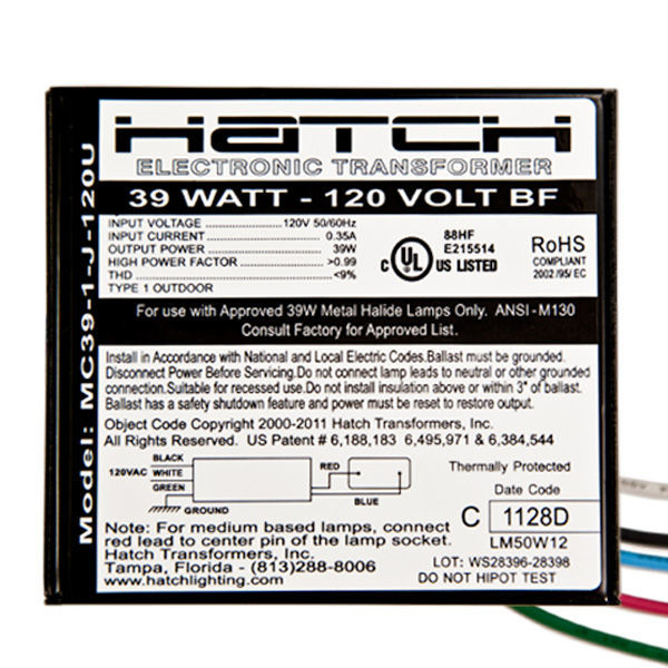 Hatch MC39-1-J-120U - 39 Watt - Electronic Metal Halide Ballast Image