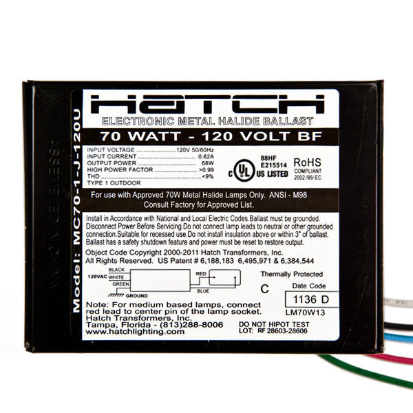 Hatch MC70-1-J-120U - 70 Watt - Electronic Metal Halide Ballast Image
